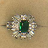 .925 Sterling Silver Ladies 1 1/2 Carat Emerald Ring