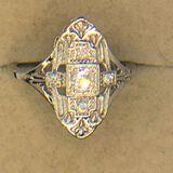.925 Sterling Silver Ladies Art Deco Filigree Ring