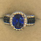 .925 Sterling Silver Ladies 3 Carat Sapphire Ring