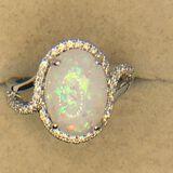 .925 Sterling Silver Ladies 3 1/2 Carat Opal Ring