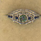 .925 Sterling Silver Filigree Gemstone Ring