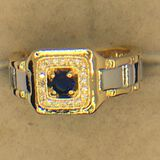 .925 Sterling Silver And 18 Carat Gold Man 1/4 Carat Sapphire Ring
