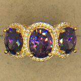.925 Sterling Silver Ladies 4 1/2 Carat Amethyst Ring