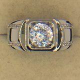 .925 Sterling Silver Mens 2 Carat Gemstone Ring