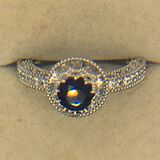 .925 Sterling Silver Ladies 1 Carat Sapphire Ring