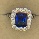 .925 Sterling Silver Ladies 4 1/2 Carat Chatam Sapphire Ring