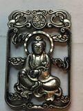 Miao Silver Carved Kwanyin Buddha Lucky Pendant