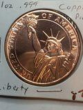 1 Ounce .999 Copper Liberty Coin
