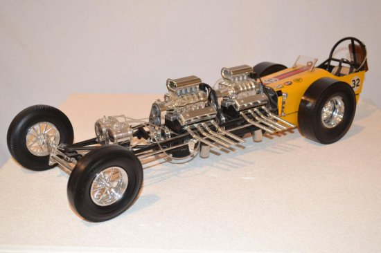 Model Yellow Twin Engine Dragster, 1-12th Scale