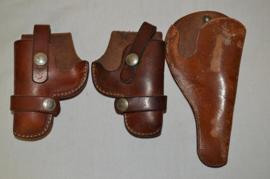 2 Right & 1 Left Small Brown Leather Holsters