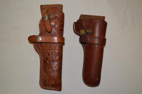 2 Right Revolver Brown Leather Holsters.