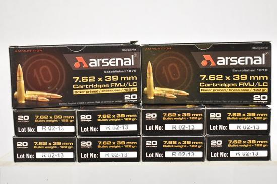 Ammo. Arsenal 7.62 x 39mm. 122 Gr. 200 Rds