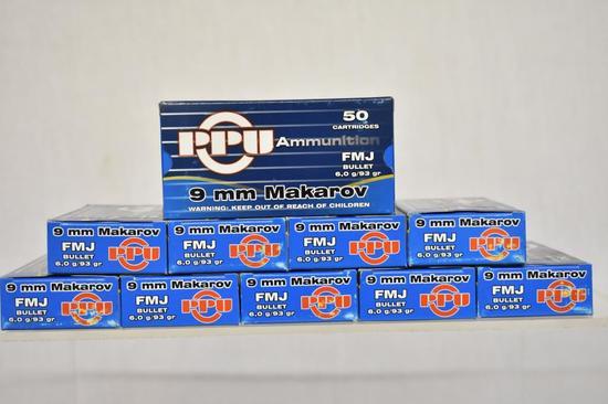 Ammo. PPU 9mm Makarow, FMJ, 93 Gr. 500 Rds