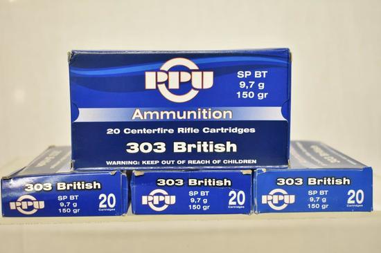 Ammo. PPU 303 British, 150 Gr. 80 Rds.