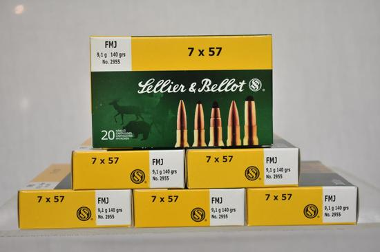 Ammo. Sellier & Ballot 7 x 57, 140 Gr. 120 Rds.