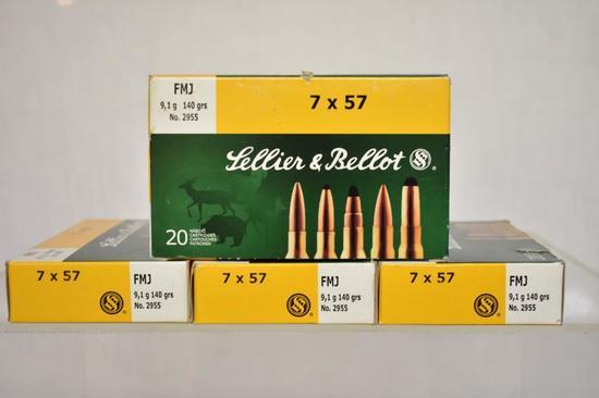 Ammo. Sellier & Ballot 7 x 57, 140 Gr. 80 Rds.