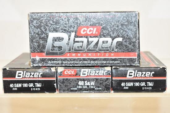 Ammo. Blazer 40 S&W, 180 GR, 200 Rds, 4 Boxes