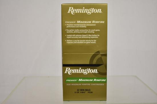 Ammo. Remington 22 win mag, 33 GR, 500 Rds.