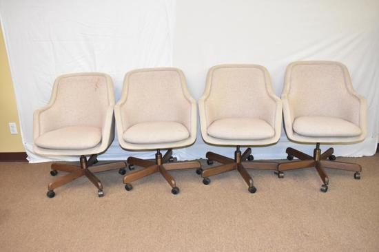 4 Mid Century Taylor Upholstered Chairs on Casters