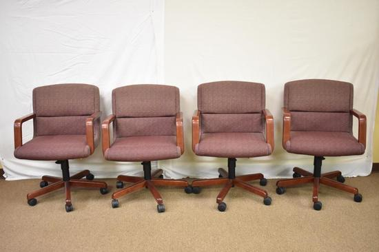 4 Mid-Century Steelcase Upholstered Chairs