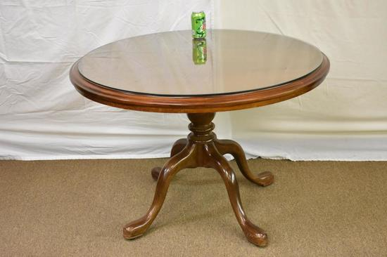 Small Round Hardwood Table with Glass Top