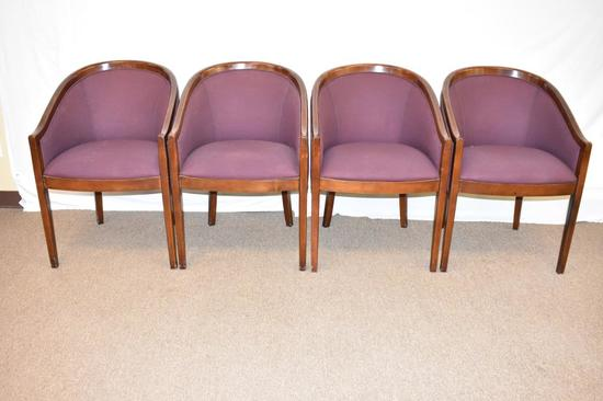 4 Mid-Century Occasional Chairs w/ Wood Trim