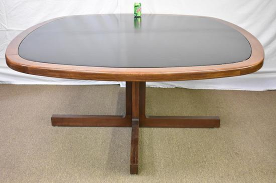 Large Mid-Century Hardwood Table Leather Inset Top