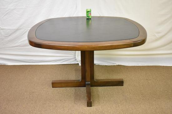 Mid-Century Hardwood Table with Leather Inset Top