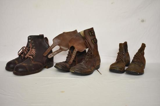Three Pairs of Military Boots.