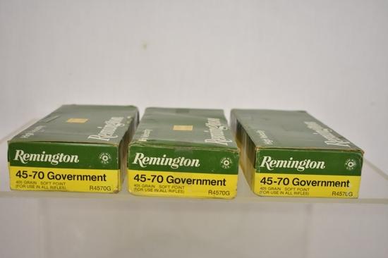 Ammo. Remington 45-70 Gov. 46 Live Rd. 9 Brass