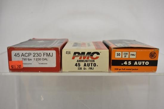 Ammo. PMC, RWS & FMJ 45 cal 80+ Live Rds, 30 Bras