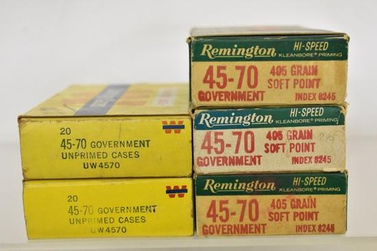 Ammo. Remington & Winchester 45 70 Gov. 100 Rds.