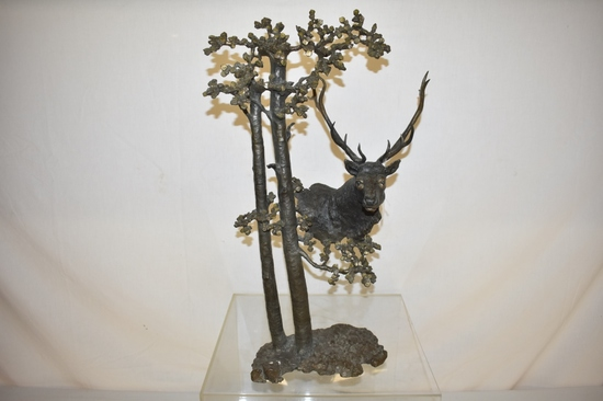 """Mark Hopkins """"Among the Aspen"""" Red Deer Bronze"""