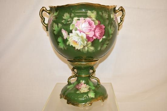 Large Porcelain Bolted Footed Urn
