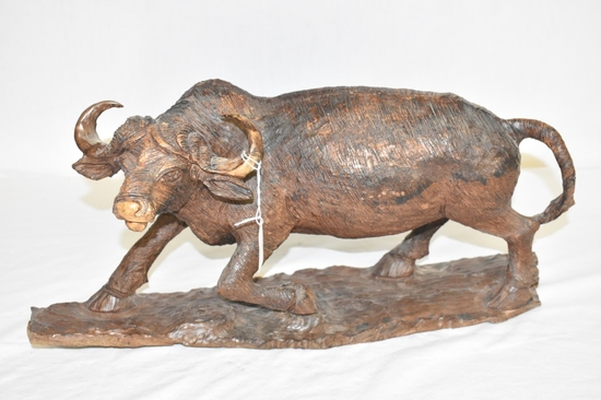 Cape Buffalo Hand Carved Wooden Statue