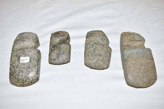 4 Native American Axe Heads