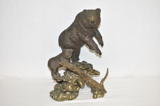 "Mark Hopkins ""No Trespassing"" Bear and Cub Bronze"