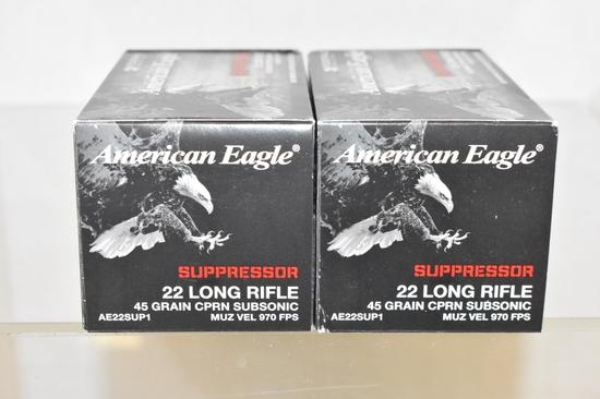 Ammo. American Eagle 22 LR Suppressor, 1000 Rds.