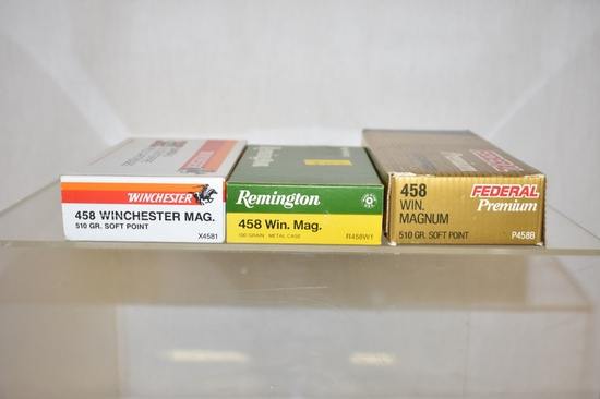 Ammo. 458 Win Mag. 52 Live Rds, 7 Brass