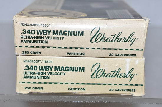 Ammo. 340 Weatherby Mag, 40 Rds.