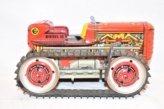 MARX Toys Diesel Tin Litho Wind Up Tractor Toy