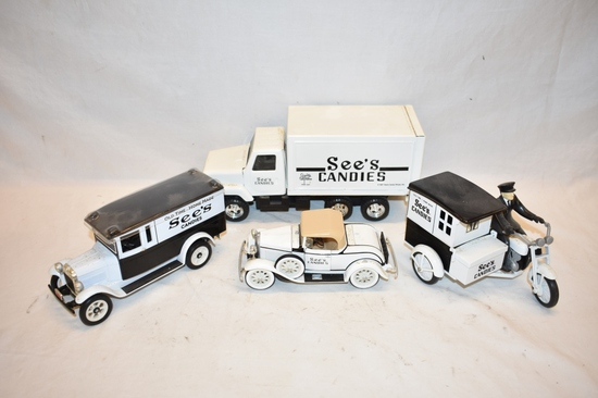 Four See's Candies 1/16 Scale Toy Vehicles