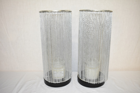 Two Tall Chain Shade Candle Holders