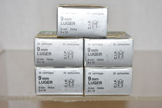 Ammo. 9 mm Luger. 125 Rds.