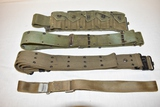Three Military Canvas Belts & One Ammo Belt