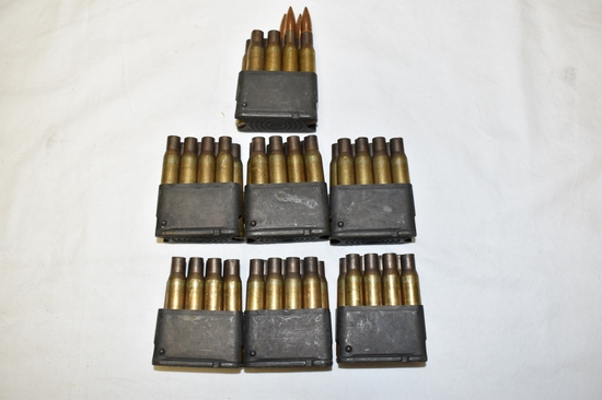 Ammo in Clips. 7 M1 Garand . 4 Rds, 52 Brass Only