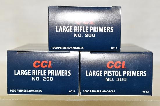 Large Pistol Primers 1000.  Large Rifle 2000