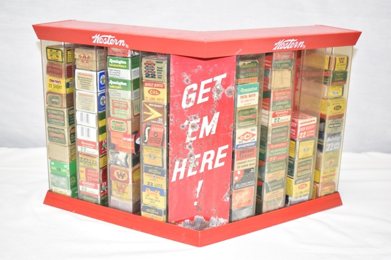 Collection of 22 cal Ammo & Boxes Approximately 2350 Rds in Display Case