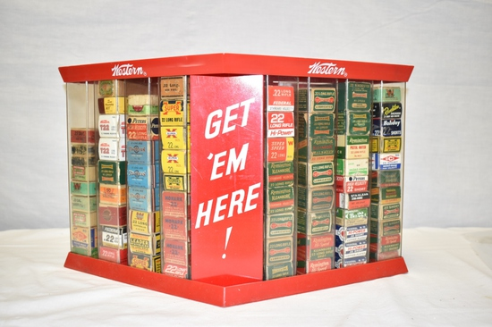 Collection of 22 cal Ammo & Boxes, Approximately 3450 Rds in Display Case