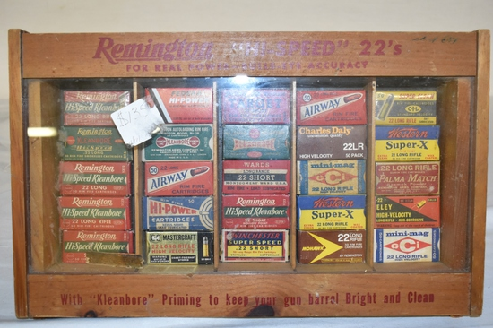 Collection of 22 Ammo Approximately 1250 Rds  in Remington Display Case